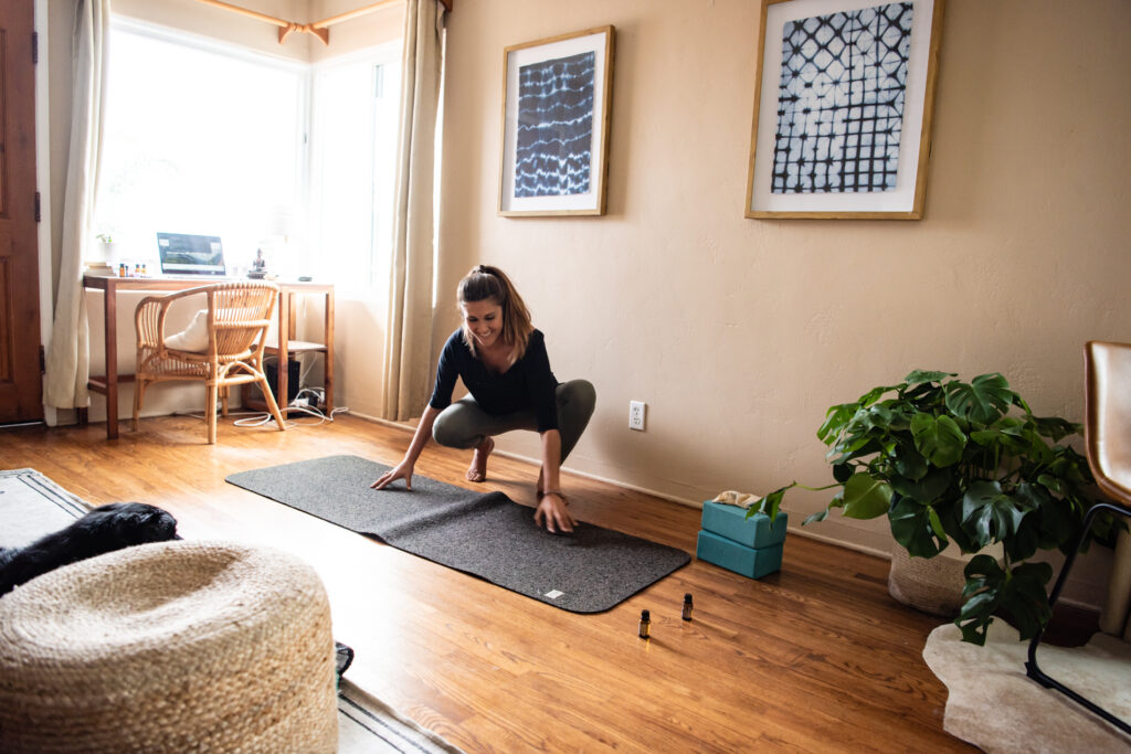 how to set up an at-home yoga space